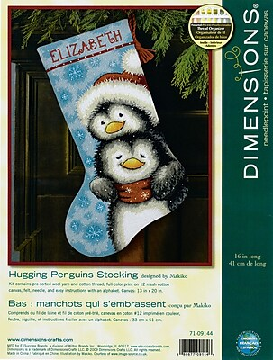 """""""""""Hugging Penguins Stocking Needlepoint Kit, 16"""""""""""""""" Long Stitched In Wool & Thread"""""""""""" 32229"""