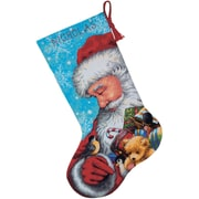 "Santa And Toys Stocking Needlepoint Kit, 16"" Long Stitched In Floss"