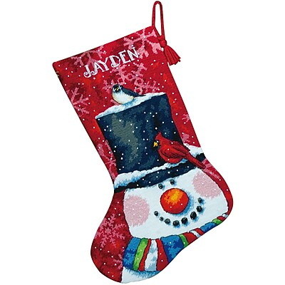 Snowman And Friends Stocking Needlepoint Kit, 16