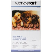 "Wonderart Latch Hook Kit 24""X34"", Lab Puppies"