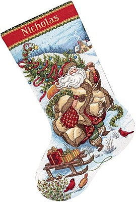 Gold Collection Santa's Journey Stocking Counted Cross Stitch Kit, 16