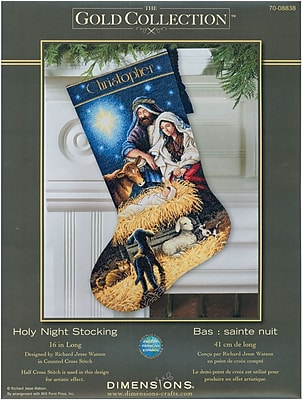 Gold Collection Holy Night Stocking Counted Cross Stitch Kit, 16