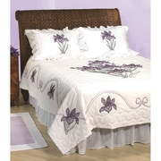 Stamped White Quilt Top, Iris
