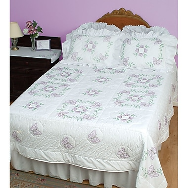 Stamped White Quilt Top, Butterflies