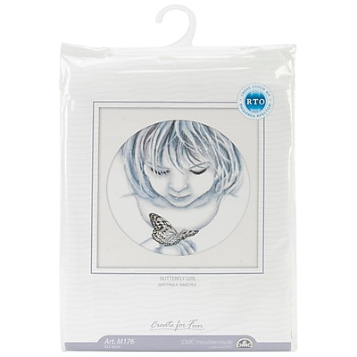 Girl With Butterfly Counted Cross Stitch Kit, 12-1/2
