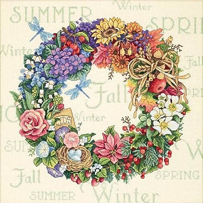 """""Gold Collection Wreath Of All Seasons Counted Cross Stitch Kit, 14""""""""X14"""""""" 18 Count"""""" 32610"