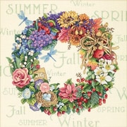 """Gold Collection Wreath Of All Seasons Counted Cross Stitch Kit, 14""""X14"""" 18 Count"""