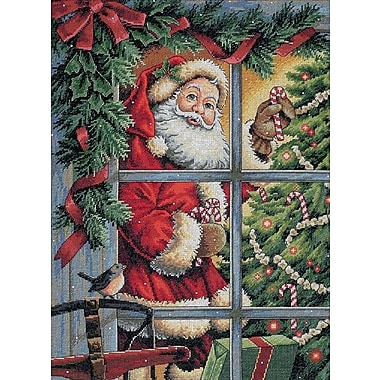 Gold Collection Candy Cane Santa Counted Cross Stitch Kit, 12