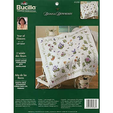 Donna Dewberry Year Of Flowers Lap Quilt Stamped Cross Stitch Kit, 45