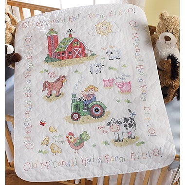On The Farm Crib Cover Stamped Cross Stitch Kit, 34