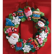 "Christmas Toys Wreath Felt Applique Kit, 16"" Round"