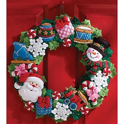 Christmas Toys Wreath Felt Applique Kit, 16