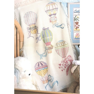Hot Air Balloons Baby Afghan Counted Cross Stitch Kit, 29