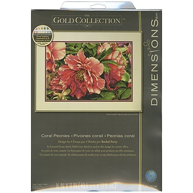 Gold Collection Coral Peonies Counted Cross Stitch Kit, 16