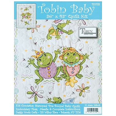Frog Family Quilt Stamped Cross Stitch Kit, 36