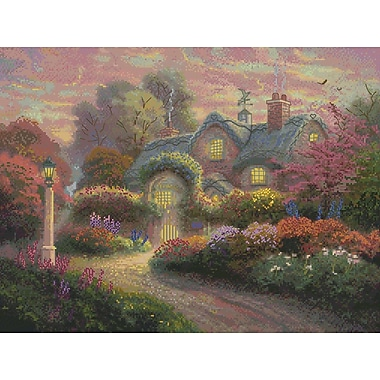 Thomas Kinkade Rosebud Cottage Counted Cross Stitch Kit, 16
