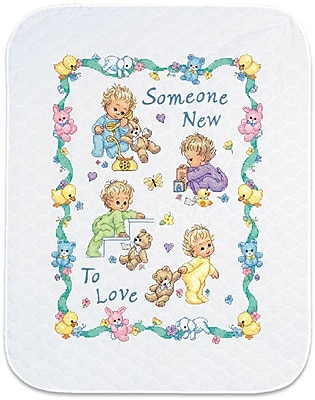 Baby Hugs Someone New Quilt Stamped Cross Stitch Kit, 34