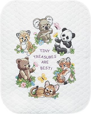 Baby Hugs Baby Animals Quilt Stamped Cross Stitch Kit, 34