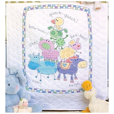Baby Hugs Farm Friends Quilt Stamped Cross Stitch Kit, 34