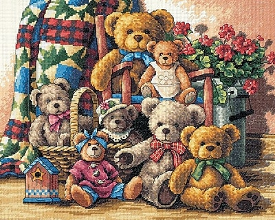 Gold Collection Teddy Bear Gathering Counted Cross Stitch Ki-15