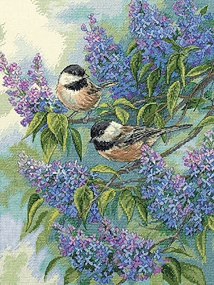 Gold Collection Chickadees & Lilacs Counted Cross Stitch Kit, 12
