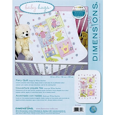Baby Hugs Fairy Quilt Stamped Cross Stitch Kit, 34