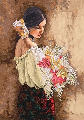 Gold Collection Woman With Bouquet Counted Cross Stitch Kit, 11