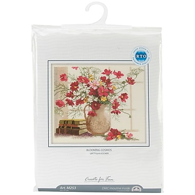 Blooming Cosmos Counted Cross Stitch Kit, 12-1/2