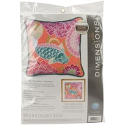 "Koi With Flowers Needlepoint Kit, 14""X14"" Stitched In Wool & Thread"