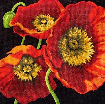 Red Poppy Trio Needlepoint Kit, 14