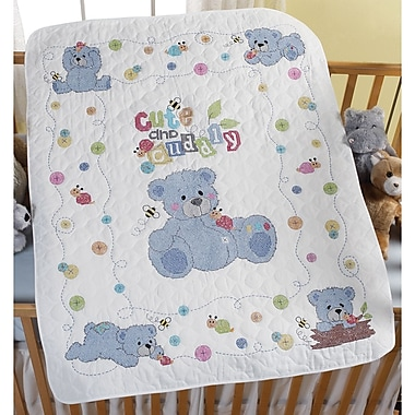 Cute & Cuddly Bear Crib Cover Stamped Cross Stitch Kit, 34