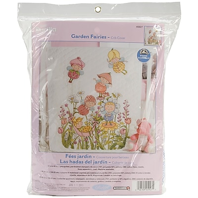 Garden Fairies Crib Cover Stamped Cross Stitch Kit, 34