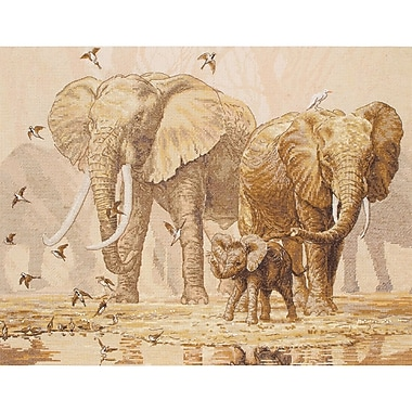 African Elephants & Namaqua Doves Counted Cross Stitch Kit, 11-3/4