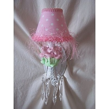 Silly Bear Baby Pink Flower 1-Light Armed Sconce; Minky Dinky Doo Pink