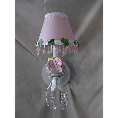 Silly Bear Pink Flutter Butterfly 1-Light Candle Wall Light; Polka Pink Dot