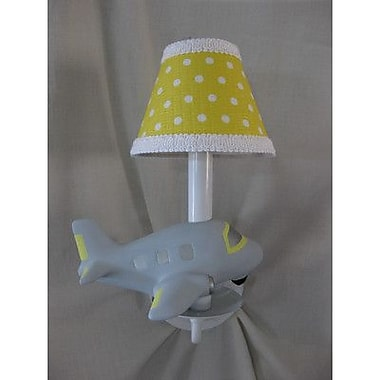 Silly Bear Airplane Captain 1-Light Wall Sconce; Delightful Dots Keylime Pie