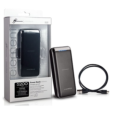 Mediasonic ProBox Universal Power Bank 5200mAh Battery Capacity, Black, HE1-52U1