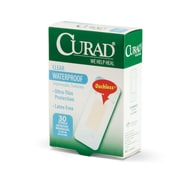"Medline® Curad® Plastic Clear Waterproof Adhesive Bandage, 1"" x 2 1/2"", 30/Pack"