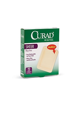 Curad® Adhesive Bandages, Sheer, XL Size, 3 3/4