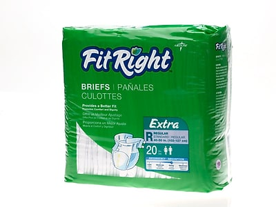 Medline® FitRight® Extra Clothlike Briefs, Regular (40