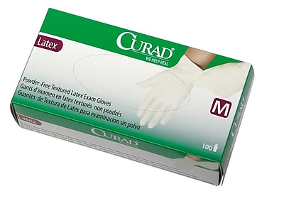 Medline Curad CUR8105 Medium Powder-Free Textured Latex Exam Gloves, Beige