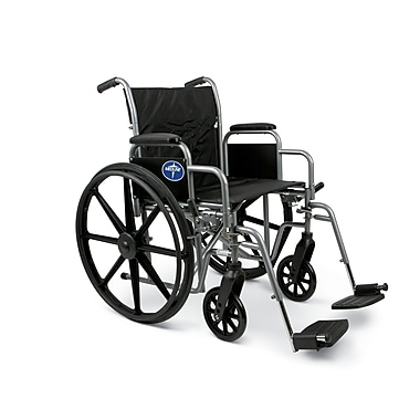Medline® K1 Basic Wheelchair With Removable Desk Length Arm and Swing Away Leg, Black