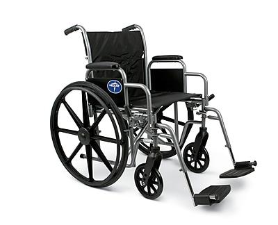 Medline® K1 Basic Wheelchair With Removable Desk Length Arm and Swing Away Leg, Black