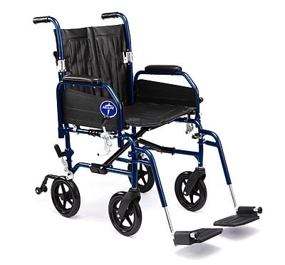 Medline® Excel Hybrid Transport Wheelchair W/Removable Desk Length Arm & Swing Away Leg, Blue/Black