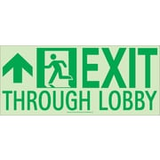 Nyc Exit Through Lobby Sign, Forward Left Side, 7X16, Flex, 7550 Glo Brite, Mea Approved