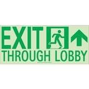 Nyc Exit Through Lobby Sign, Forward Right Side, 7X16, Flex, 7550 Glo Brite, Mea Approved