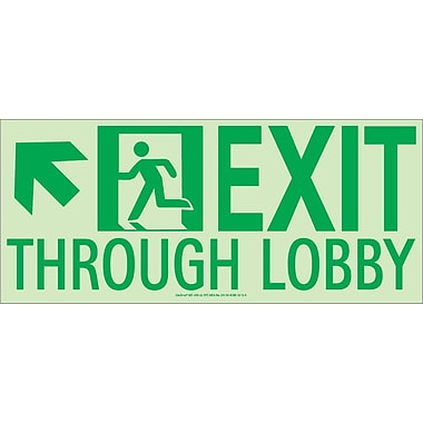 Nyc Exit Through Lobby Sign, Up Left, 7X16, Flex, 7550 Glo Brite, Mea Approved