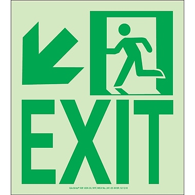 NYC Wall Mount Exit Sign, Down Left, 9