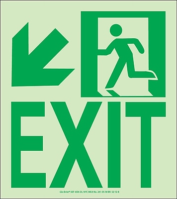 NYC Wall Mount Exit Sign, Down Left, 9X8, Flex, 7550 Glow Brite, MEA Approved