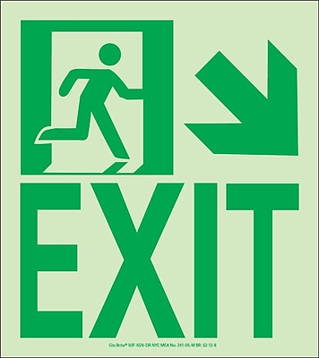 NYC Wall Mount Exit Sign, Down Right, 9X8, Flex, 7550 Glow Brite, MEA Approved